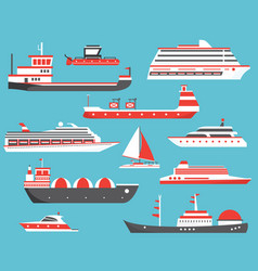 ships set oil tanker yacht bulk carrier gas vector image