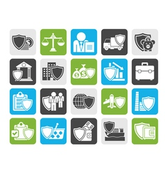 Silhouette Business and industrial insurance icons vector