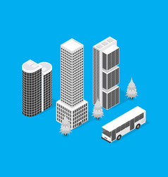 skyscrapers on a city map concept 3d isometric vector image