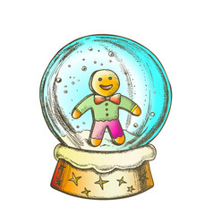 snow globe with biscuit man souvenir ink color vector image