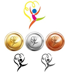 Sport medals and gymnastics with ribbon vector image