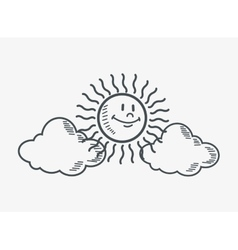 Sun and clouds doodle drawing image vector