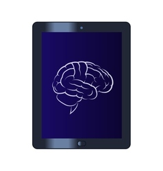 Symbol of the brain on the tablet computer vector image