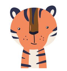 tiger cute animal baface vector image