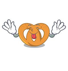 Tongue out pretzel mascot cartoon style vector