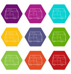 traveling camper van icons set 9 vector image