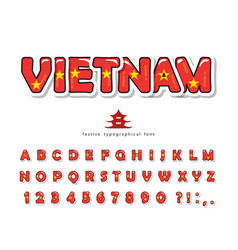 vietnam cartoon font vietnamese national flag vector image