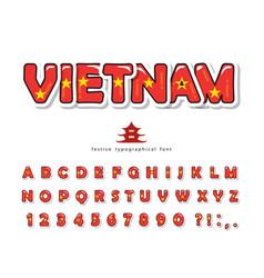Vietnam cartoon font vietnamese national flag vector