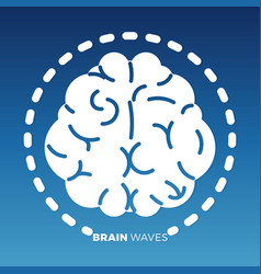 white brain icon design on colorful backdrop vector image