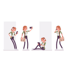 Young red-haired woman and gadgets vector