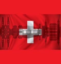 flag of switzerland with zurich skyline vector image vector image