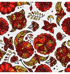 Hand drawn floral Khokhloma seamless pattern vector image