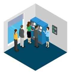 People And ATM Machine Isometric Design vector image