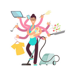 super busy mother working and cooking vector image vector image