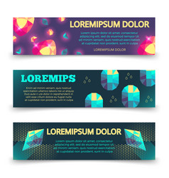 colorful crystalls banner template set vector image