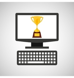 online education technology winner trophy vector image vector image