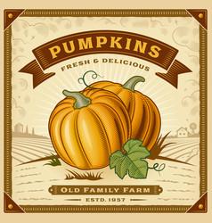retro pumpkin harvest label with landscape vector image vector image