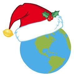 Santa Hat On A Earth vector image vector image