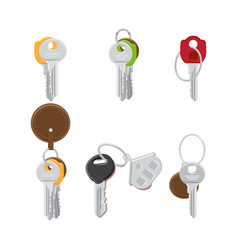 set of modern door keys on keyring flat vector image