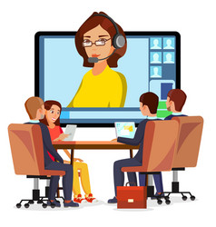 Video meeting online woman and chat ceo vector