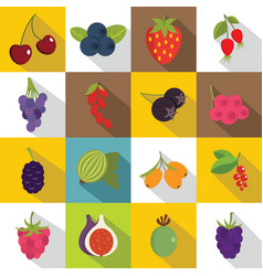 berries icons set flat style vector image