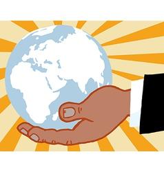 Businessman holding world cartoon vector image vector image