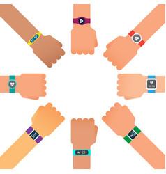 hand bracelet fitness gadget fitness tracker for vector image vector image