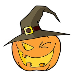 Jack O Lantern Wearing A Witch Hat Winking vector image