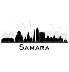 samara russia city skyline silhouette with black vector image
