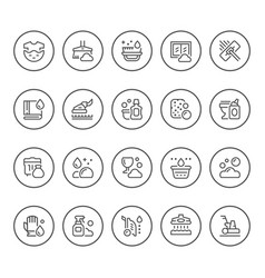 set round line icons of cleaning vector image vector image