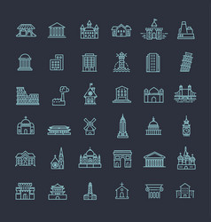building icons set government landmarks vector image