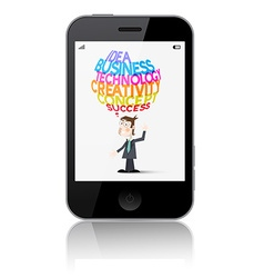 Cell Phone with Business Man Idea - Business - Cre vector image vector image