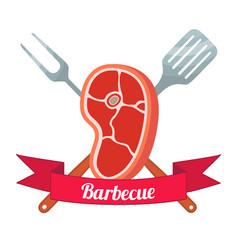 fresh meat labelpork ham barbecue fork spatula vector image