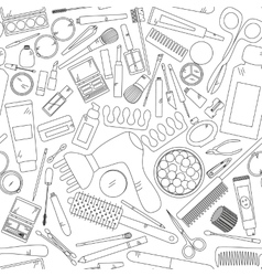 Seamless pattern with tools for makeup in black vector image