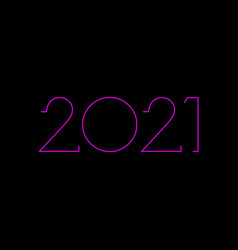 2021 happy new year with pink neon sign isolated vector image