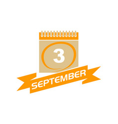 3 september calendar with ribbon vector