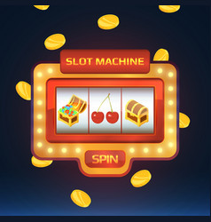 Armed bandit game machine in casino with vector