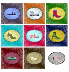 Assembly flat shading style icons shoes vector