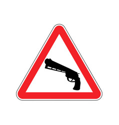 attention crime gun in red triangle road sign vector image