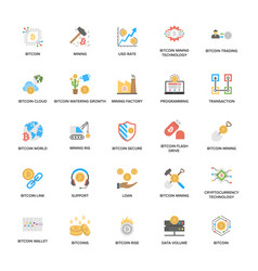 Bitcoin and cryptocurrency icons pack vector