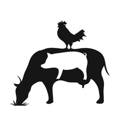 Black and white farm animals pig cow chicken vector