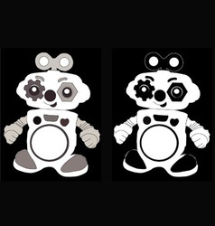 Black and white robot vector image