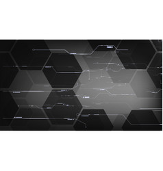 Black hexagon technological interface backgrounds vector