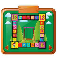 Boardgame template with kid and swing vector