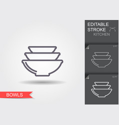 bowls line icon with editable stroke with shadow vector image