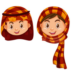 Boy and girl in arab costume vector