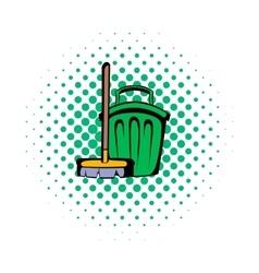 Broom and bucket comics icon vector