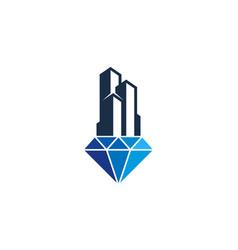 Building diamond logo icon design vector