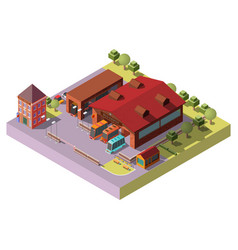 bus depot building exterior isometric icon vector image