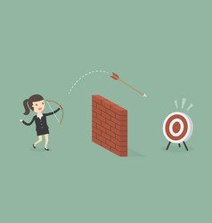 businesswoman shoot arrow over the wall to the vector image